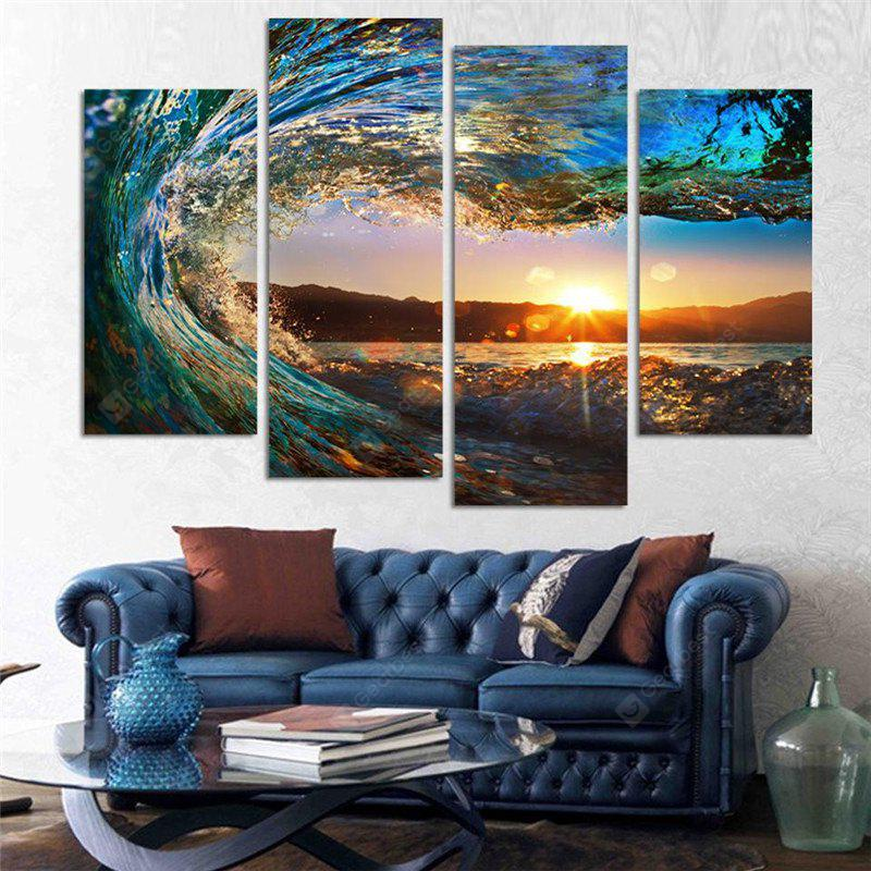 COLORMIX 4PCS Waves Sunset Printed Canvas Unframed Wall Art