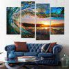 4PCS Waves Sunset Printed Canvas Unframed Wall Art - COLORMIX