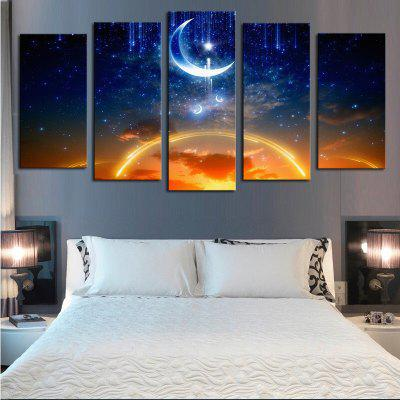 5PCS Dreamsky Moon Printed Canvas Unframed Wall Art
