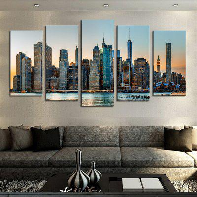 5PCS Prosperity City Printed Canvas Unframed Wall Art