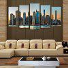 5PCS Prosperity City Printed Canvas Unframed Wall Art - COLORMIX