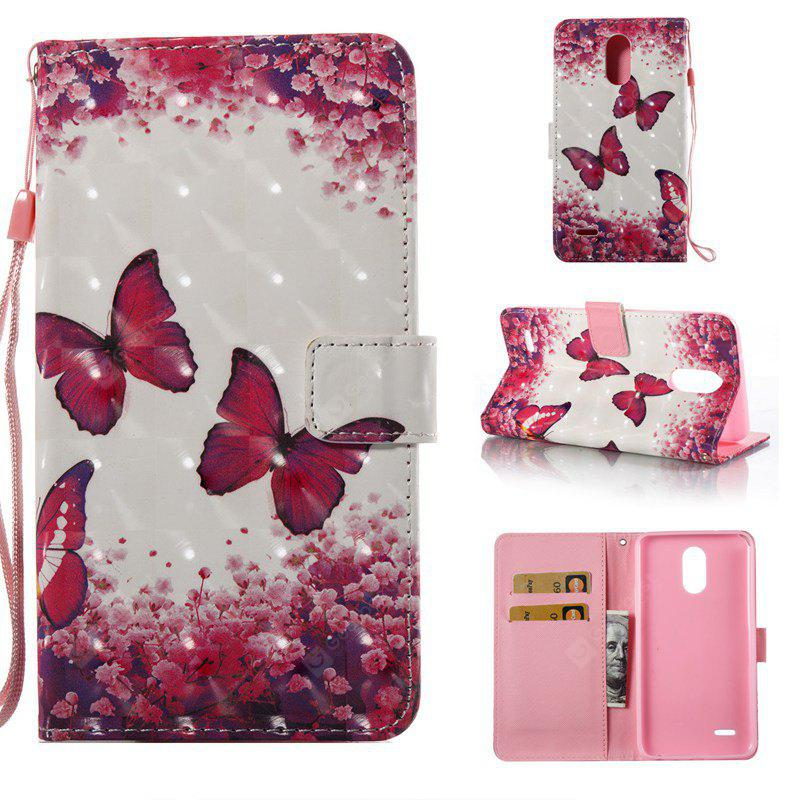 Rose Butterfly 3D Painted Pu Phone Case for Lg Stylus3 Ls777