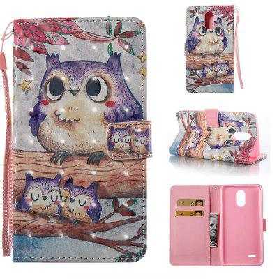 Purple Owl 3D Painted Pu Phone Case for Lg Stylus3 Ls777