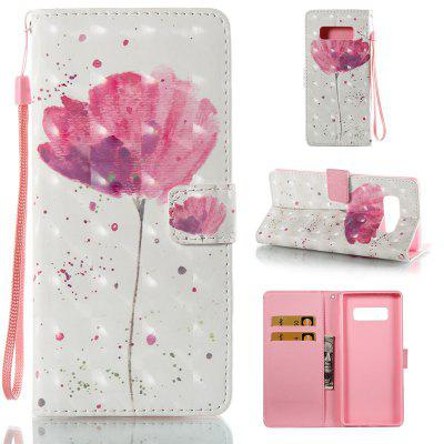A Flower 3D Painted Pu Phone Case for Samsung Galaxy Note 8