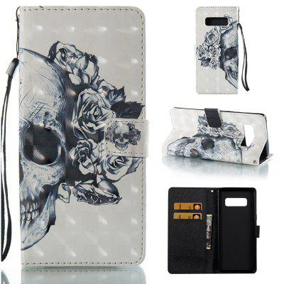 Skull 3D Painted Pu Phone Case for Samsung Galaxy Note 8
