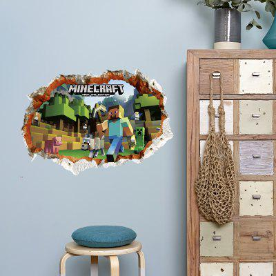 3D Hole Style Game World Wall Sticker
