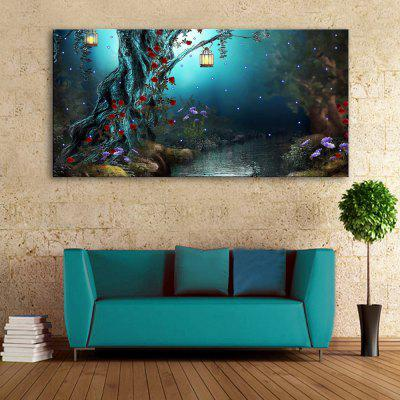Yc Stretched Led Canvas Print Art The Forest Stream Effect Led Flashing Optical Fiber Print Set of 1