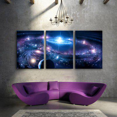 YC Stretched LED Canvas Print Art The Solar System Flashing Effect Optical Fiber Print 3pcs