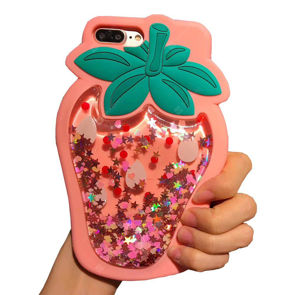 PINK Glitter Bling Strawberry Dynamic Quicksand Cases for Iphone 7