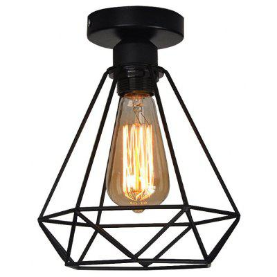 Brightness Vintage 1-LIGHTS Black Metal Cage Loft Ceiling Lamp Flush Mount Dining Room Kitchen
