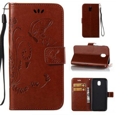 Buy DEEP BROWN Wkae Flowers Embossing Pattern PU Leather Flip Stand Case Cover for Samsung Galaxy J3 2017 European Edition for $5.78 in GearBest store