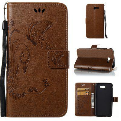 Wkae Flowers Embossing Pattern PU Leather Flip Stand Case Cover for Samsung Galaxy J7 2017 American Edition