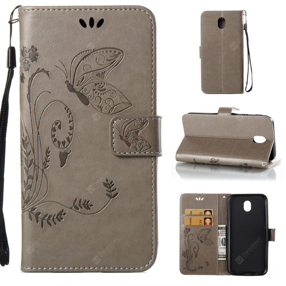 Wkae Flowers Embossing Pattern PU Leather Flip Stand Case Cover for Samsung Galaxy J7 2017 European Edition