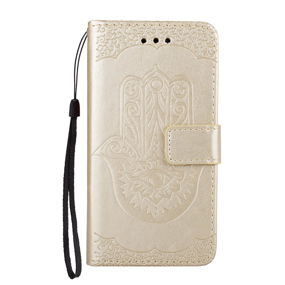 Wkae Embossed Leather Case Cover with Insert Card Slots And Kickstand for Huawei P8 2017
