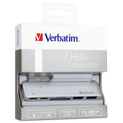 Verbatim Aluminum Type C Hub with Dual C Sync charging for Macbook (Silver)
