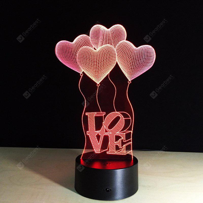 Yeduo 3D Visual Bulb Optical Illusion Colorful Led Table Lamp Touch Romantic Holiday Night Light Baymax Love Heart Wedding Gifts