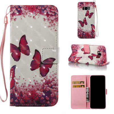 Buy COLORMIX Rose Butterfly 3D Painted Pu Phone Case for Samsung Galaxy S8 for $5.07 in GearBest store