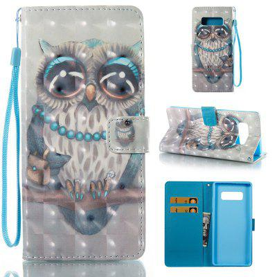 Gray Cat 3D Painted Pu Phone Case for Samsung Galaxy Note 8