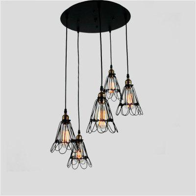 Buy BLACK Brightness Vintage Creative Wrought Iron Small Iron Cage Lighting Lamps Metal Pendant Lights 5 Lights Painted Finish Industrial Living Room Dining Room Chandelier for $108.92 in GearBest store
