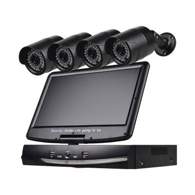 4 Channel Security Camera System 10.1 inch LCD 1080N AHD DVR 4×1.0MP Weatherproof Cameras with Night Vision