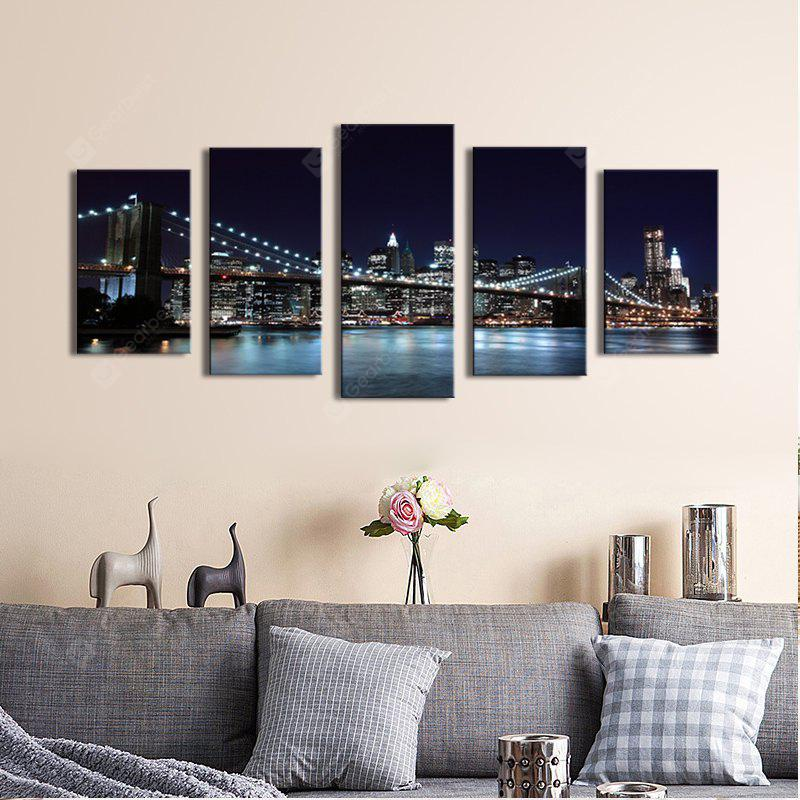 BLACK Streched 5 Panels Brooklyn Bridge Canvas Wall Art Modern Giclee Canvas Prints for Livingroom Decoration Ready To Hang