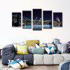 Streched 5 Panels Brooklyn Bridge Canvas Wall Art Modern Giclee Canvas Prints for Livingroom Decoration Ready To Hang - BLACK