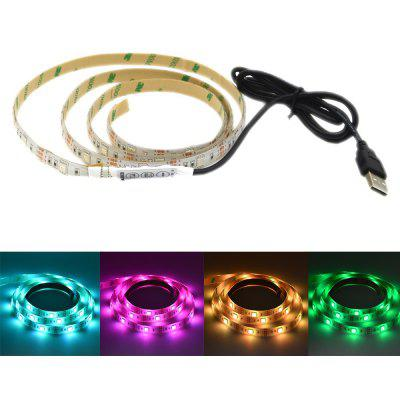 Buy BLACK WHITE USB Powered 1M 5050 RGB 30 LEDs Strip Light for Background Decor with 44 Key Remote Control for $11.16 in GearBest store