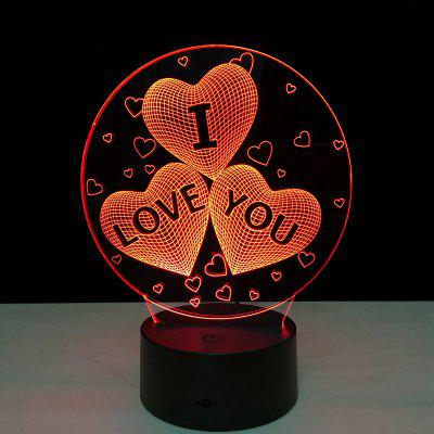 Yeduo Acrylic 7 Color Changing Usb Charge 3D Heart I Love You Led Night Light with 3D Luminous Decor Table Lamp Nightlig