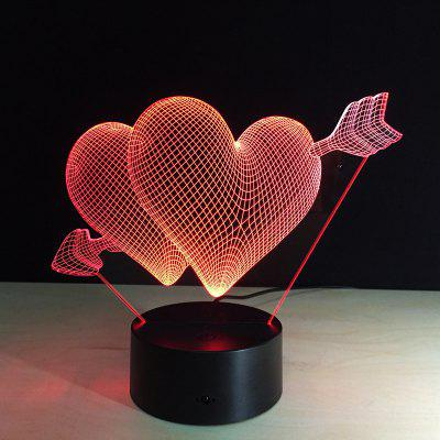 Yeduo 3D Led Night Light 7 Couleur Changing Piercing Heart Creative Télécommande Ou Touch Switch Led Décorer Lampe Comme Don