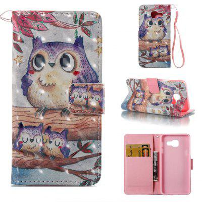 Purple Owl 3D Painted Pu Phone Case for Samsung Galaxy A5 2016