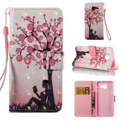 Plum Tree Girl 3D Painted Pu Phone Case for Samsung Galaxy A5 2016