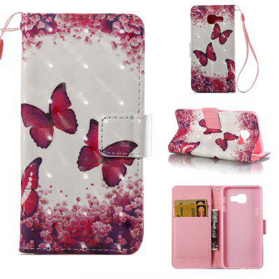 Rose Butterfly 3D Painted Pu Phone Case for Samsung Galaxy A5 2016