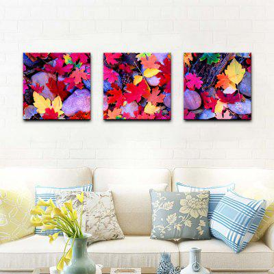 Buy PLUM Yhhp Stretched Canvas Print Three Panels Canvas Wall Decor Home Decoration Abstract Modern Cobblestone Leaves for $58.45 in GearBest store