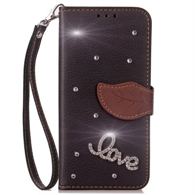 Yc Love Leaf Stick Drill Card Lanyard Pu Leather for Samsung S8 Plus