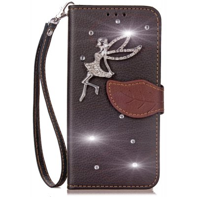 Yc Leaf Stick Drill Card Lanyard Pu Leather for iPhone 6