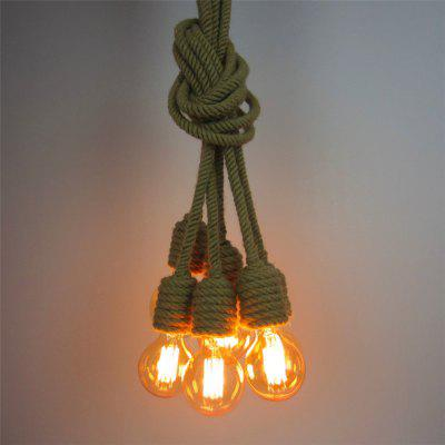 Buy CLEMENTINE 6 Heads Vintage Industrial Hemp Rope Pendant Lights Living Room Dining Room Hallway Cafe Bars Clothing Store Decoration Rope 150CM for $115.01 in GearBest store