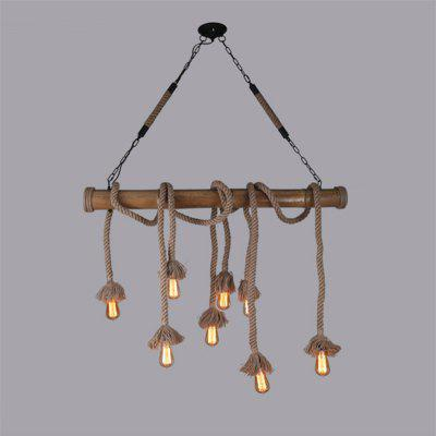 Buy CLEMENTINE Brightness 8 Heads 100CM Vintage Hemp Rope with Bamboo Pendant Lights Loft Creative Industrial Living Room Restaurant Bars Clothing Store Decoration for $155.11 in GearBest store