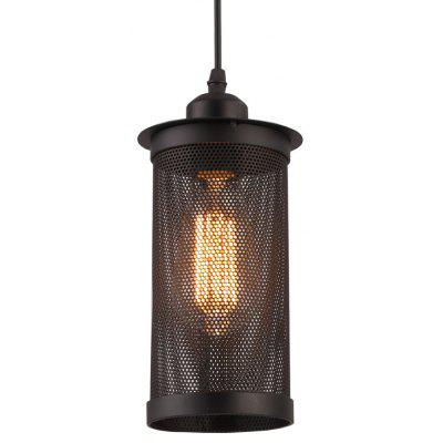 Brightness 1 Head Vintage Black Metal Mesh Pendant Lights Country Style Mini Chandelier for Bars Kitchen Dining Room