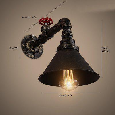 Brightness Retro Industrial Style Water Pipe Wall Light Restaurant Cafe Bars Bar Wall Sconces 110 - 120VWall Lights<br>Brightness Retro Industrial Style Water Pipe Wall Light Restaurant Cafe Bars Bar Wall Sconces 110 - 120V<br><br>Bulb Base: E26,E27<br>Bulb Included: No<br>Finish: Painting<br>Fixture Material: Metal<br>Number of Bulbs: 1<br>Package Contents: 1 x Light, 1 x Assembly Part<br>Package size (L x W x H): 28.00 x 28.00 x 14.00 cm / 11.02 x 11.02 x 5.51 inches<br>Package weight: 1.4000 kg<br>Power Supply: AC<br>Shade Material: Metal<br>Style: Antique, Rustic Lodge, Vintage, Vintage antique<br>Suggested Room Size: 0 - 50 Square Meters<br>Type: Wall Sconces<br>Voltage: 110 - 120V<br>Wattage: 60W<br>Wattage per Bulb ( W ): 60