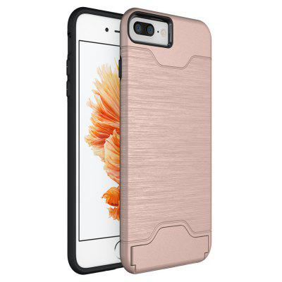 Wkae Solid Color Brushed Pattern Dual Layer Shockproof Protective with Built-in Kickstand and Card Slot for iPhone 7 Plu