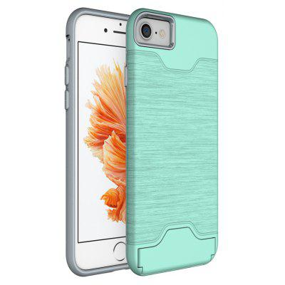 Wkae Solid Color Brushed Pattern Dual Layer Shockproof Protective with Built-In Kickstand And Card Slot for Iphone 7 And