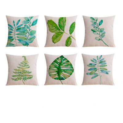 6PCS Good Quality Home Decoration Leaf Linen Cushion Covers