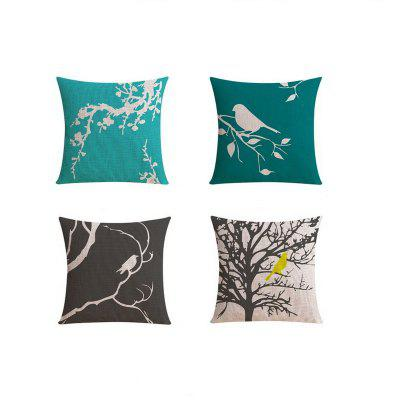 4PCS Good Quality Tree And bird Home Decoration Linen Cushion Covers