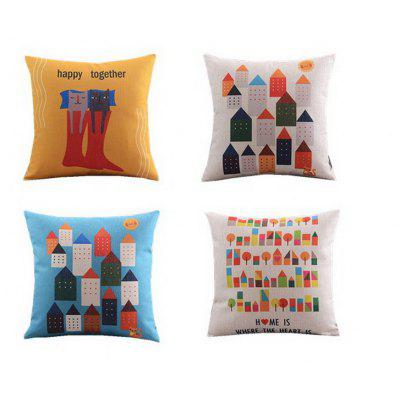 4PCS Good Quality Home Decoration Linen Cushion Cover Pillow Case