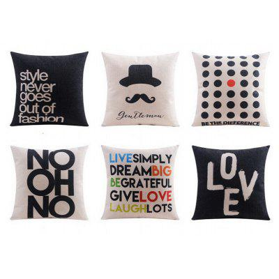 6PCS Good Quality Love Life Home Decoration Linen Cushion Covers