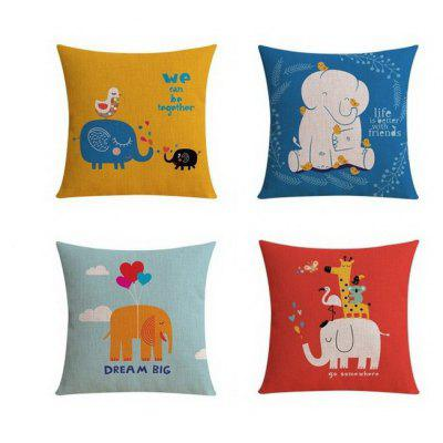 4PCS Good Quality Elephant Home Decoration Linen Cushion Covers