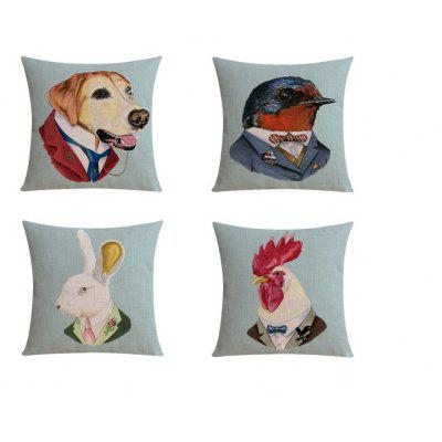 4PCS Good Quality Animal Gentleman Home Decoration Linen Cushion Covers