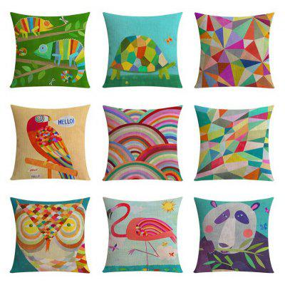 9PCS Good Quality Abstract Pattern Home Decoration Linen Cushion Covers