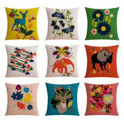 9PCS Good Quality Floral And animal Home Decoration Linen Cushion Covers