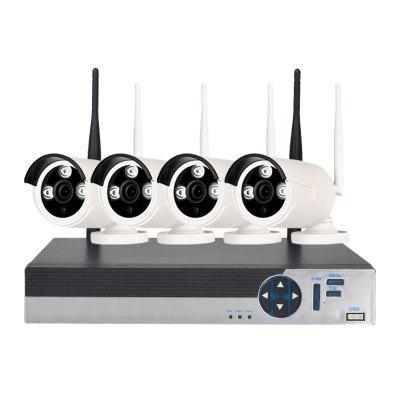 4 Channel 720P Wireless Security Camera System 1 x Wifi Nvr 4 x 1.0MP Wifi Ip Camera with Night VisionSurveillance Camera System<br>4 Channel 720P Wireless Security Camera System 1 x Wifi Nvr 4 x 1.0MP Wifi Ip Camera with Night Vision<br><br>Environment: Outdoor<br>Exterior Material: Metal<br>Hard disk: 1T - 6T<br>Main processor: HI3520DV200<br>Package Contents: 1 x 4CH 1080P WiFi NVR, 1 x Power Adapter (12V / 2A), 4 x Power Adapter (12V / 1A), 1 x USB Mouse, 1 x English Users Manual, 4 x 1.0MP WiFi Camera, 1 x 1M Net Cable<br>Package size (L x W x H): 35.00 x 20.00 x 14.50 cm / 13.78 x 7.87 x 5.71 inches<br>Package weight: 5.0000 kg<br>Power Cable Length: 1.2 meter<br>Product size (L x W x H): 25.50 x 23.50 x 4.50 cm / 10.04 x 9.25 x 1.77 inches<br>Product weight: 1.2000 kg<br>Recording Backup: Network backup<br>User interface: ??<br>Video System: NTSC,PAL<br>Web Browser: CMS Software,Firefox,Google Chrome,IE,Microsoft Internet Explorer 6.0 above,Safari<br>Working Humidity(%) RH: 10-90